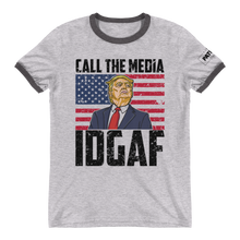 Load image into Gallery viewer, Trump Ringer T-Shirt | Call The Media | IDGAF | Light Colors