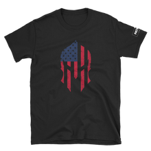 Load image into Gallery viewer, American Flag Spartan Helmet T-Shirt | Stand Alone Helmet | Dark Colors