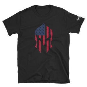 American Flag Spartan Helmet T-Shirt | Stand Alone Helmet | Dark Colors