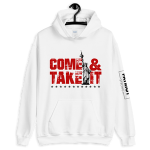 Lady Liberty AR-15 Hooded Sweatshirt | Come & Take It Hoodie | Red on Light Colors