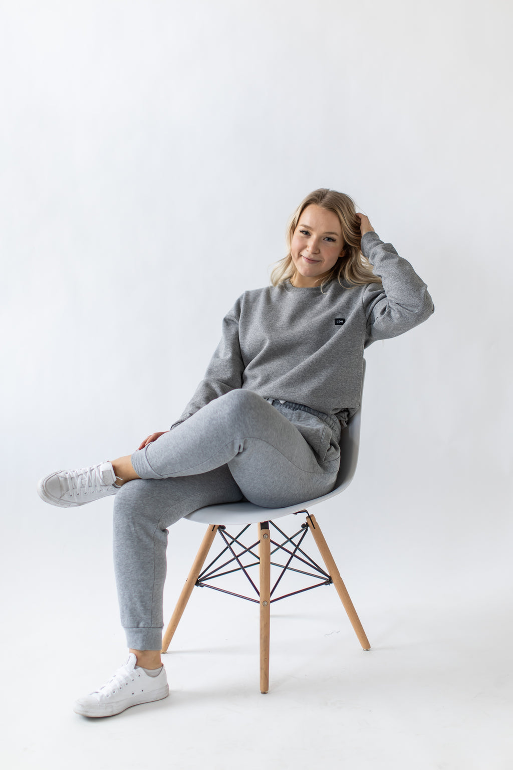 Unisex Athletic Grey Cotton Patch Crewneck