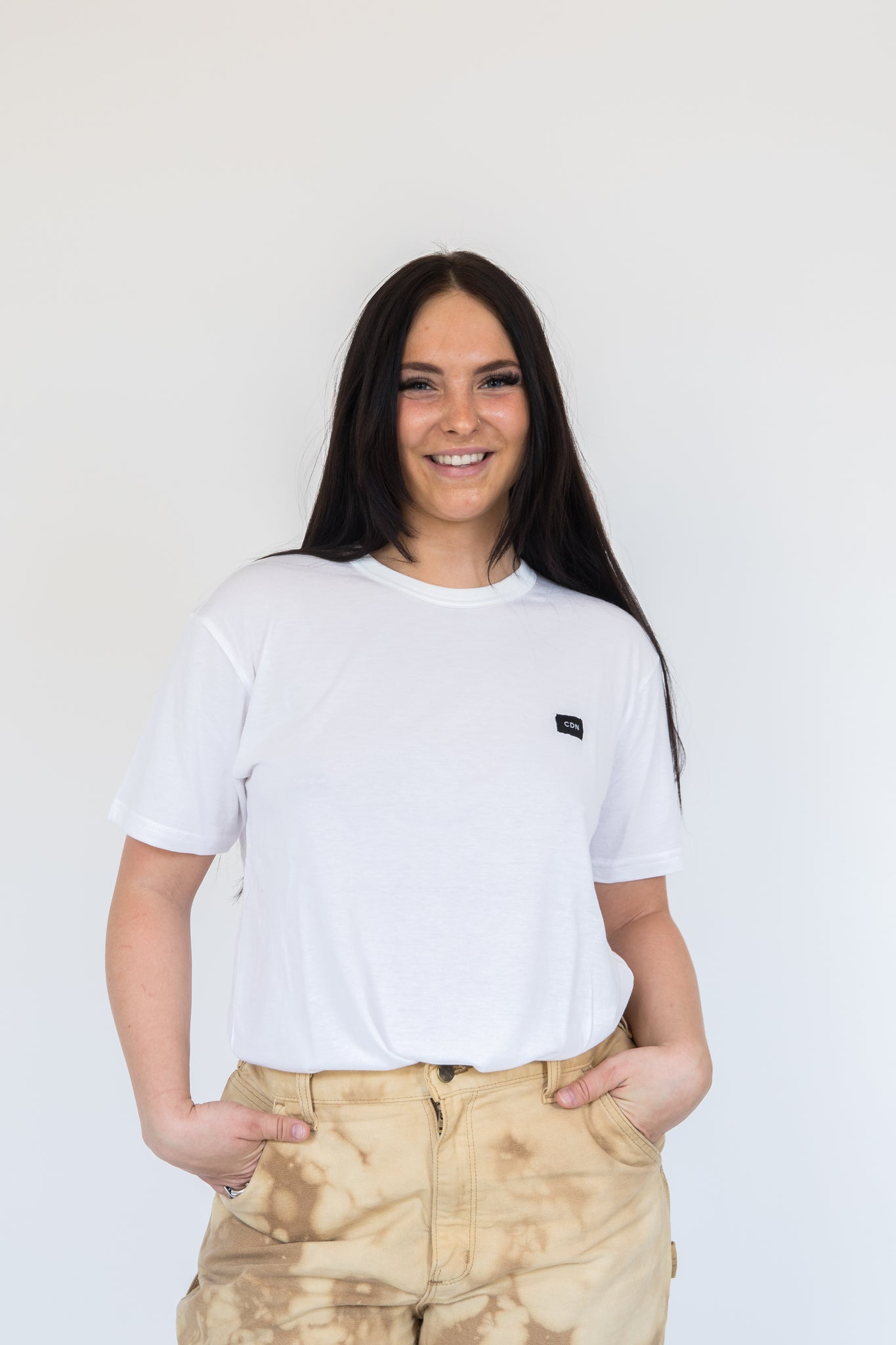 Unisex White Bamboo Patch Tee