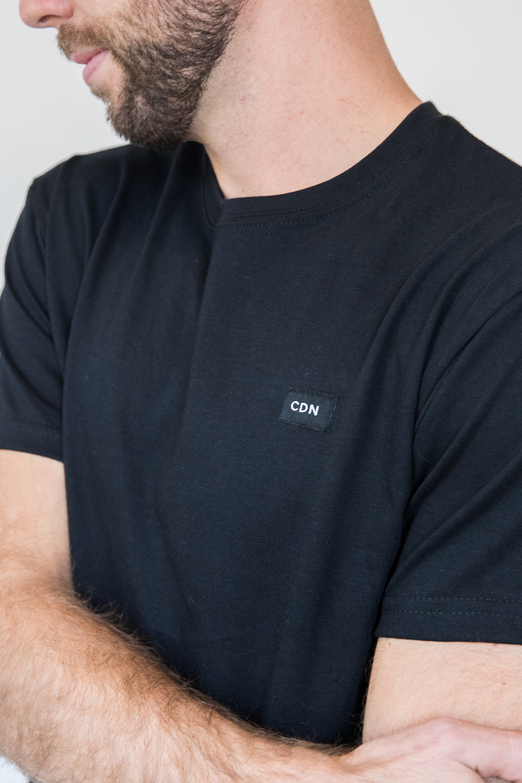 Unisex Black Cotton Patch Tee