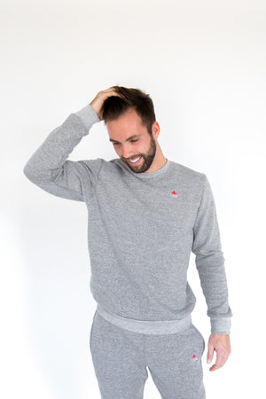 Unisex Marble Grey Crown Crewneck