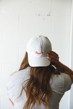White 'Sorry' Dad Hat
