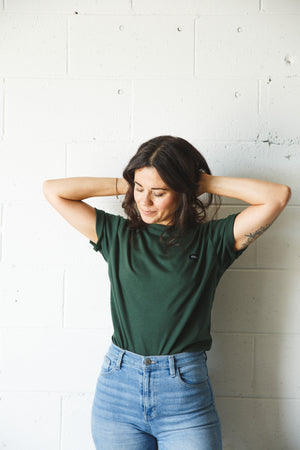Unisex Forest Green Cotton Patch Tee