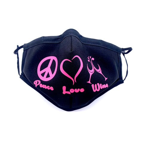 PEACE, LOVE & WINE  mask