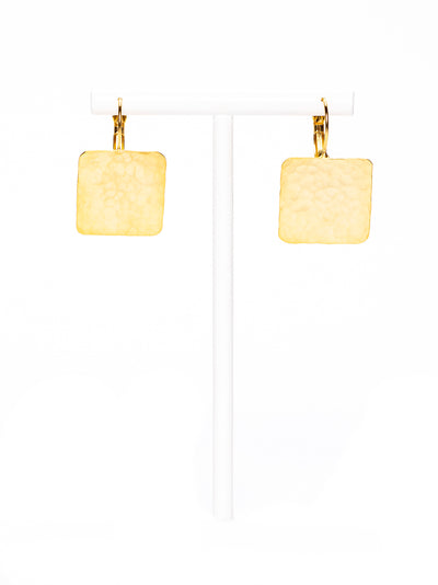 GERALDINE BREMER-WEILL - MANALI  DESIGN - BOUCLES D'OREILLES - PERCEES - LITTLE SQUARE - HYPOALLERGENIQUE - LAITON - PLAQUÉ OR