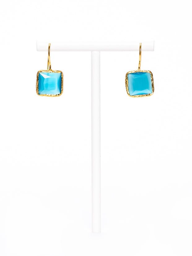 GERALDINE BREMER-WEILL - MANALI DESIGN - BOUCLES D'OREILLES - PERCEES - SMALL - OEIL DE CHAT - HYPOALLERGENIQUE - PLAQUÉ  OR FIN - TURQUOISE