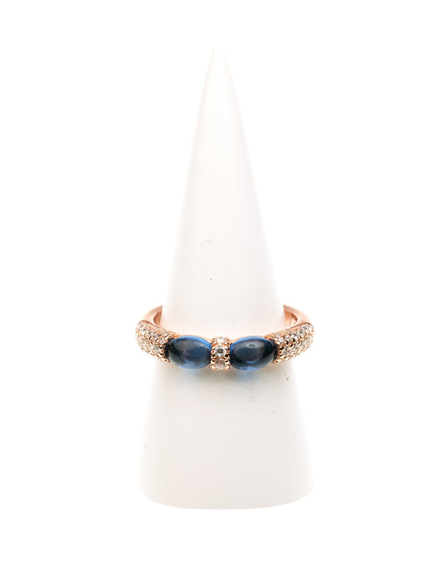 GERALDINE BREMER WEILL - MANALI DESIGN - BAGUE - NON AJUSTABLE - DUO CRISTAL - STRASS - PLAQUE OR ROSE - ARGENT  - BLEU