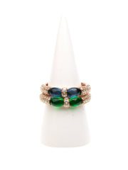 GERALDINE BREMER WEILL - MANALI DESIGN - BAGUE - NON AJUSTABLE - DUO CRISTAL - STRASS - PLAQUE OR ROSE  - VERT - BLEU