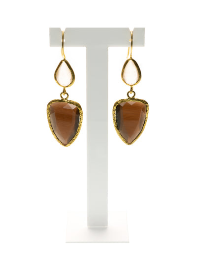 MANALI DESIGN - BOUCLES D'OREILLES - PERCEES - OEIL DE CHAT - PLAQUE OR FIN - MARRON - BLANC