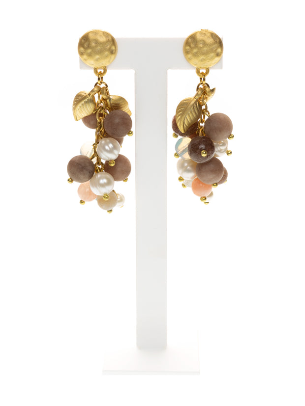 MANALI DESIGN - BOUCLES D'OREILLES - PERCEES - PLAQUEE OR - AGATE - BEIGE - BLANC