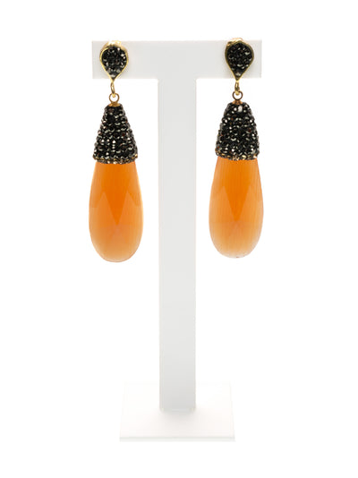 MANALI DESIGN - BOUCLES D'OREILLES - PERCEES - OEIL DE CHAT - STRASS - ORANGE