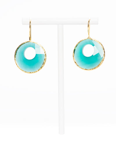 GERALDINE BREMER -WEILL - MANALI DESIGN - BOUCLES D'OREILLES - PERCEES - HYPOALLERGENIQUE - OEIL DE CHAT - PLAQUE OR FIN