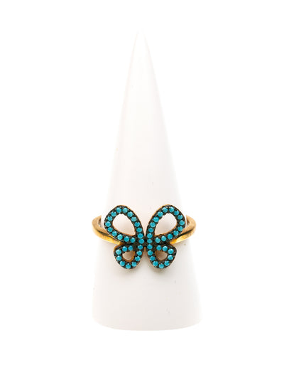 GERALDINE BREMER WEILL - MANALI DESIGN - BAGUES - NON AJUSTABLES - PAPILLON - STRASS SWAROVSKI - PLAQUÉ OR OR - TURQUOISE