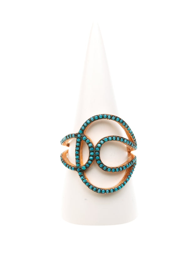 Geraldine Bremer Weill - MANALI DESIGN - BAGUES - NON AJUSTABLES - ARABESQUE TURQUOISE - STRASS SWAROVSKI - PLAQUEE OR ROSE FIN