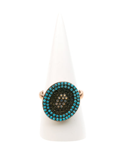 GERALDINE BREMER WEILL - MANALI DESIGN - BAGUES  - NON AJUSTABLES  - OVALE - CABOCHON TURQUOISE - STRASS SWAROVSKI - PLAQUÉE OR ROSE -