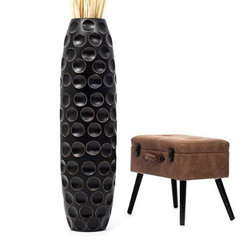 luxury black floor flower vase