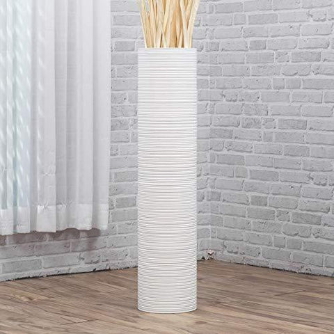 Tube White Mango Wood Floor Flower Vase - Home & Garden