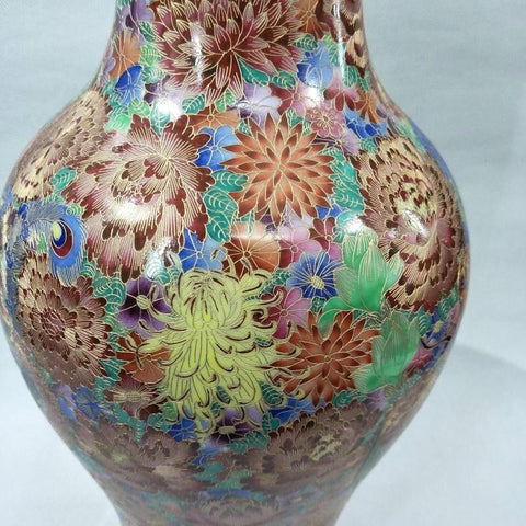 Long Antique Enamel Blossom Floor Flower Vase - Home & Garden