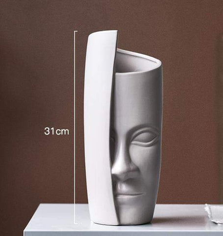 Creative Half Face Tabletop Flower Vase - Home & Garden