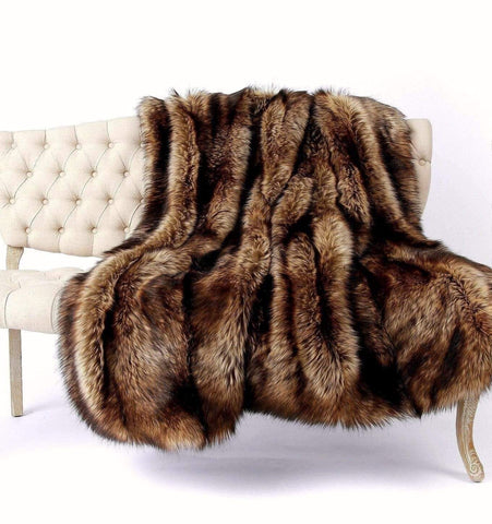 Golden Brown Wolf Faux Fur Throw Blanket - Bed & Bath