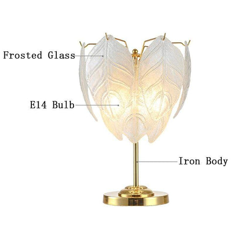 Iron Frosted Glass Leaf Table Lamp - Lamps & Lighting