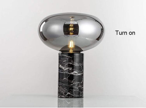 Amber Smoke Marble Glass Ball Table Lamp - Lamps & Lighting