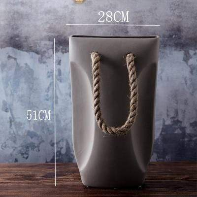 Handbag Rope-handle Tabletop Flower Vase - Home & Garden