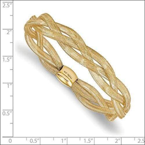 14K Gold Stretch Cuff Bangle Bracelet