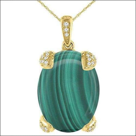 14K Oval Malachite Yellow & Gold Diamond Necklace - novariancreations.com