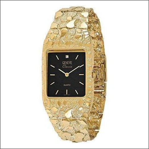 14K solid gold nugget dial wrist watch