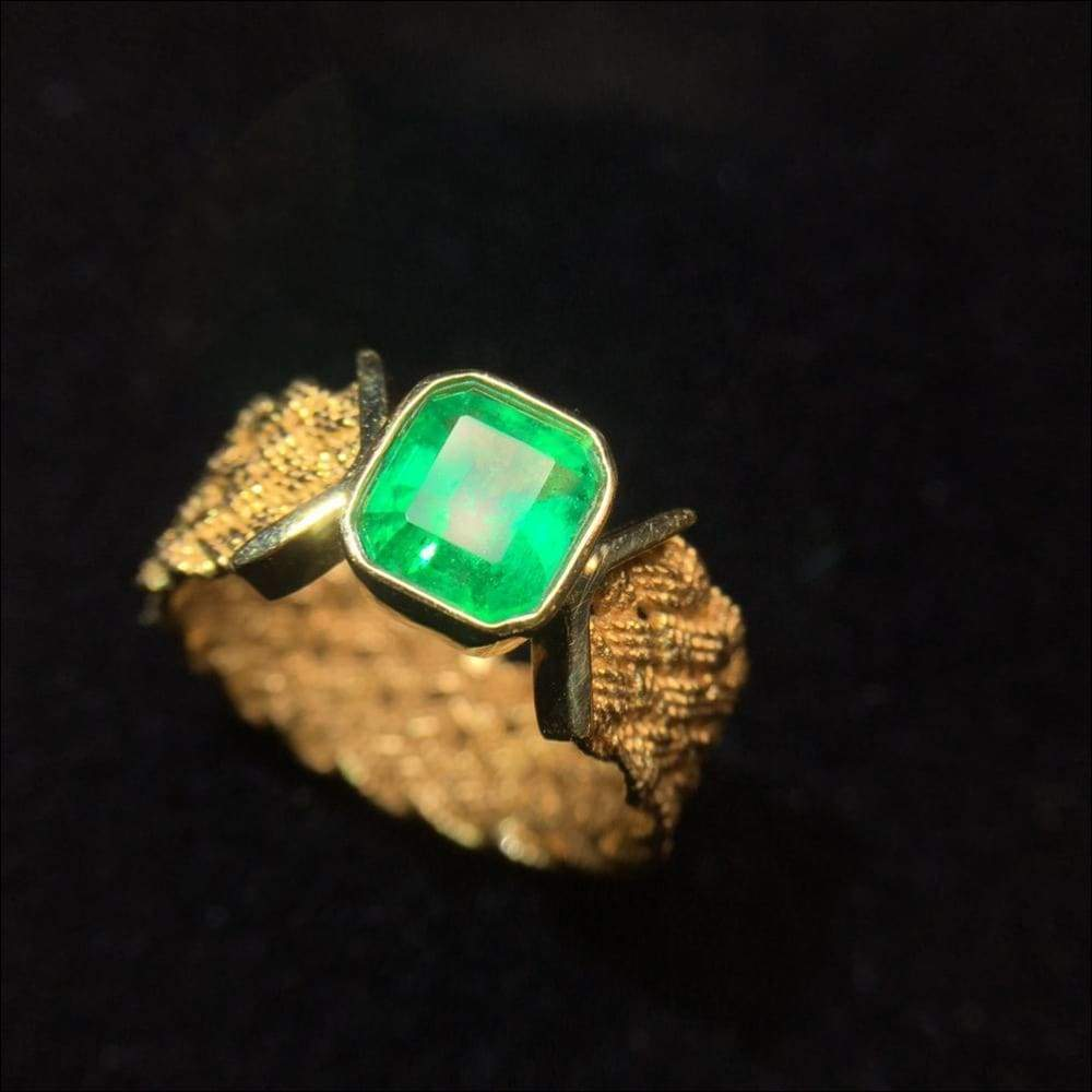 18K Natural Real Emerald Green Gold Ring