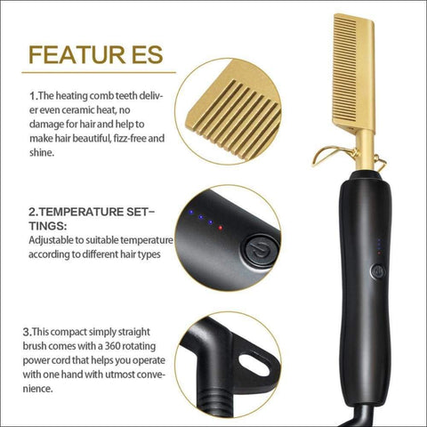 450ºF Golden Electric Comb Iron - Travel Electronics