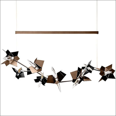 Abstract Black Iron Crystal Pendant Ceiling Lamp