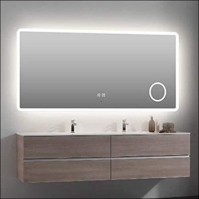 Acrylic Frosted Anti-fog Bluetooth Sensor LED Wall Mirror - Lighted Mounted