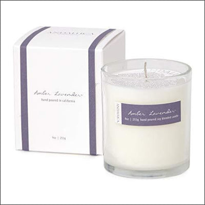 Amber Lavender Scented Soy Candle - Candles
