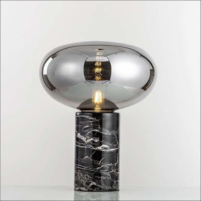 Amber Smoke Marble Glass Ball Table Lamp