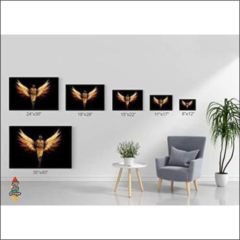 Angel Winged Kobe Brant Framed Canvas Painting - Canvas Paintings Under $500