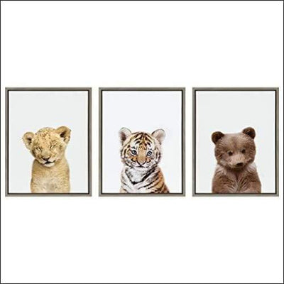 Baby Lion Tiger & Bear 3PC Framed Canvas Wall Art - 1.63 x 18 24 Inches