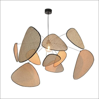 Bamboo Rattan Leaf Grid Chandelier Ceiling Lamp