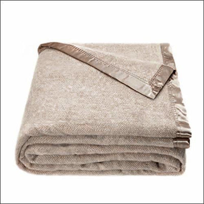 Beige Australian Herringbone Wool Throw Blanket
