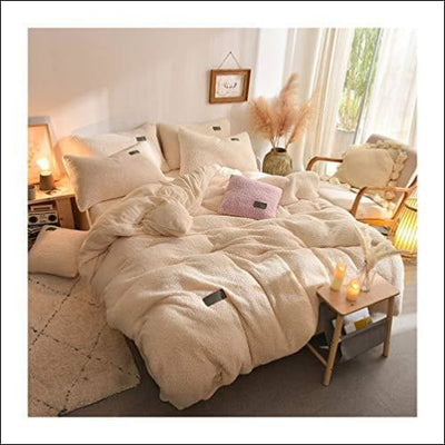 Beige Lamb Cashmere 4PC Bedding Set