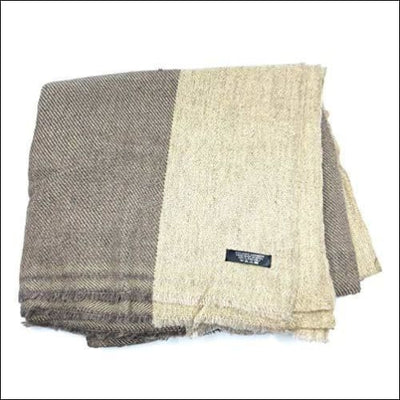 Beige Nepal Himalayan Cashmere Wool Throw Blanket - 55 x 100