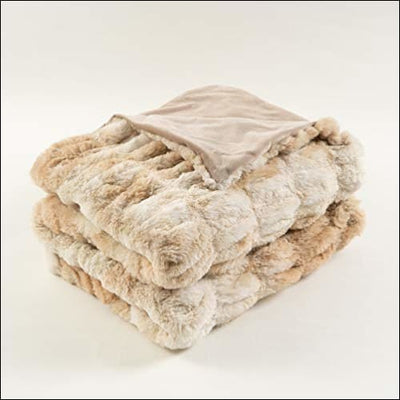 Beige Rabbit Faux Fur Velvet Throw Blanket - 50 Inch X 60