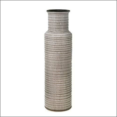 Beige Ribbed Cylinder Floor Flower Vase