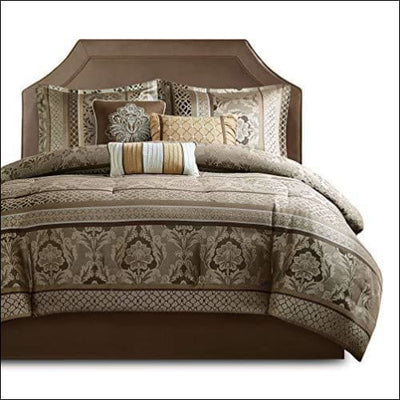 Bellagio Gold Brown Jacquard Damask 7PC Bedding Set
