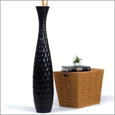 Black Mango Wood Floor Flower Vase