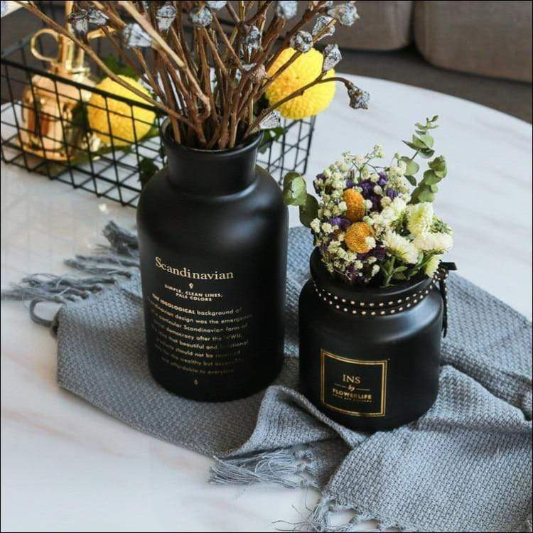 Black Scandinavian Glass Tabletop Flower Vase